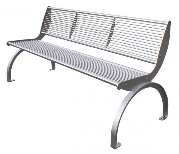 Bench Cetra stainless steel with back
